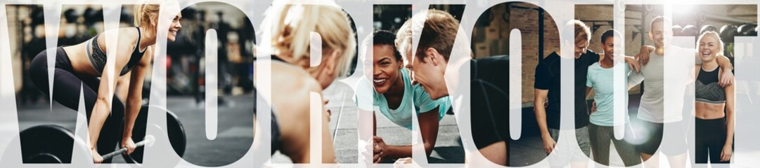 Collage of smiling people doing workouts together at the gym