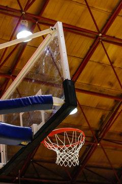 Basketbal hoop under side view see the ceiling