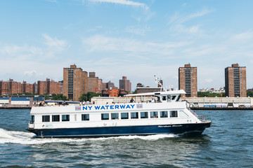 NY Waterway ferry navigating the East River in New York