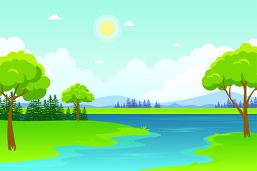 Wall Murals Green coral Beautiful Landscape Vector with lake, or sea view Illustration design, cute, lovely, adorable and scenery landscape design