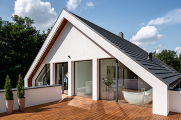 Elegant wooden home terrace