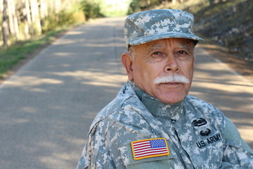 Senior USA Army Soldier Outdoors