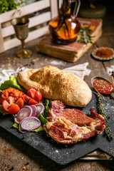 Fotobehang Grill / Barbecue grilled ham