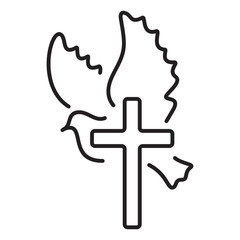 Dove and cross church line logo