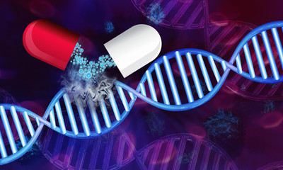 Illustration of dna strand modified by immunotherapy to fight cancer