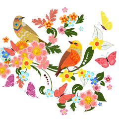 Ingelijste posters Papegaai colorful greeting card with cute birds on beautiful ornamental f