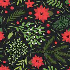 Christmas and happy year seamless pattern with floral botanical decorations that can be used for wrapping paper, wallpaper, fabric, packaging, textile print background design. Vector illustration.
