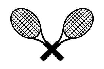 Two tennis racket icon. Cross position of tennis racket