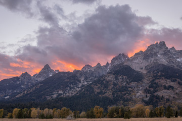 Door stickers Lavender Sunset in the Tetons of Wyoming in Autumn
