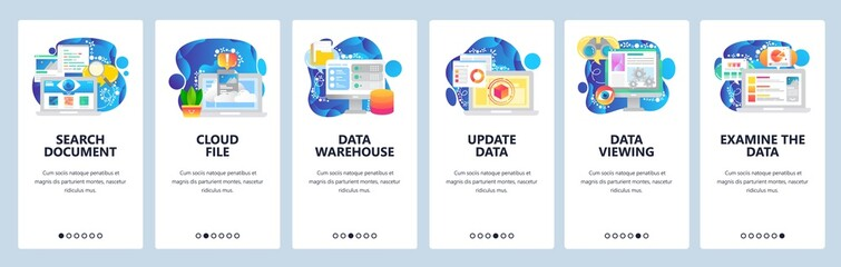 Mobile app onboarding screens. Data science technology, cloud storage, update, search. Menu vector banner template for website and mobile development. Web site design flat illustration