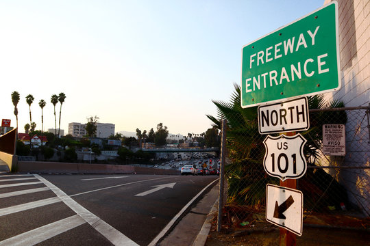 US Route 101 Freeway Entrance in Los Angeles, California