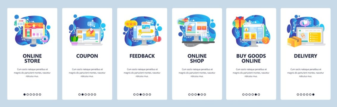 Mobile app onboarding screens. Online shopping and delivery, feedback and products review, coupon discount. Vector banner template for website and mobile development. Web site design flat illustration