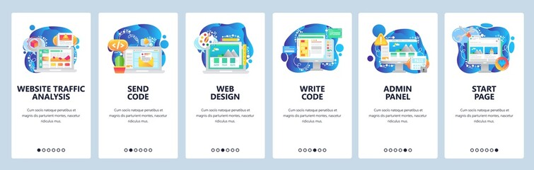 Wall Mural - Mobile app onboarding screens. Business analytics, coding, admin panel, dashboard. Menu vector banner template for website and mobile development. Web site design flat illustration