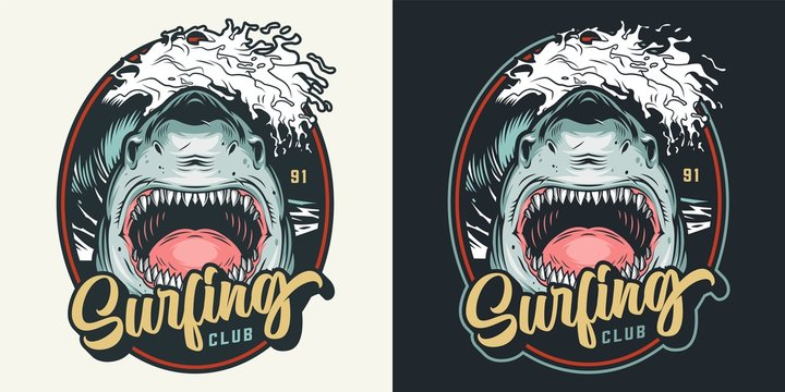 Colorful summer surfing club badge