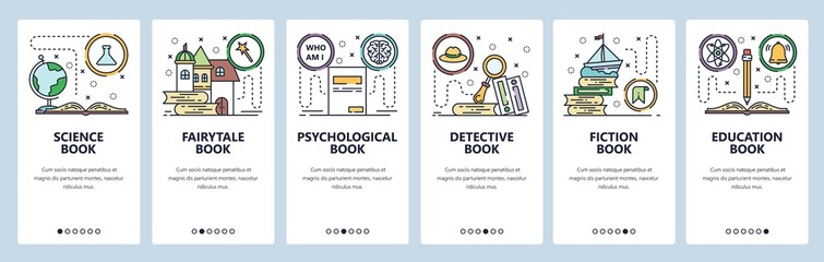 Mobile app onboarding screens. Science book, fairytale, detective, fiction and non-fiction books, education. Vector banner template for website and mobile development. Web site design illustration