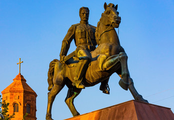Vartan Mamikonian statue at Vartanants Square landmark of Gyumri Shirak Armenia eastern Europe
