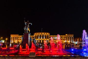 singing fountains of Vartanants Square landmark of Gyumri Shirak Armenia eastern Europe