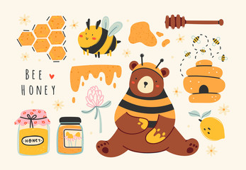 Set of cute bee, tasty healthy honey, jars, hive, honey spoon, flower, bear, honeycomb. Hand drawn colored trendy vector illustration. Cartoon style. Flat design. All elements are isolated