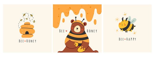 Cute bee, tasty healthy honey, hive, bear. Set of three cards. Hand drawn colored trendy vector illustrations. Cartoon style. Flat design. Every illustration is isolated
