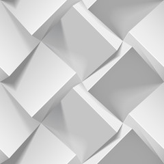 Light seamless geometric pattern. Realistic 3d cubes from white paper. Vector template for wallpapers, textile, fabric, wrapping paper, backgrounds. Abstract texture with volume extrude effect.