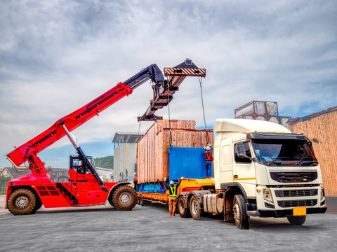 The over high cargo to lifting with the special equipment and control by foreman in yard.
