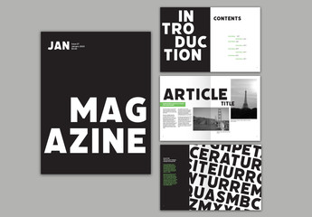 Bold Magazine Layout with Green Accents