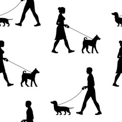 Seamless pattern with Silhouette Man and Woman walking the dogs. isolated on white background