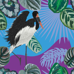 Wall Mural - Stork takes off abstract leaves backgorund seamless