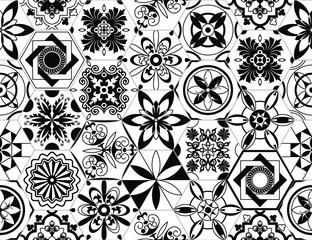 Portuguese vector tiles pattern, Lisbon seamless black and white tile design, Azulejos vintage geometric ceramics