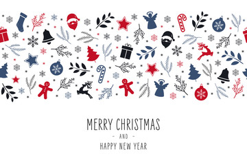 Wall Mural - Christmas icon elements border card with greeting text seamless pattern isolated white background.
