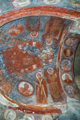 Wall Murals Imagination Inside The cave church Bahattin Samanlıgı Kilisesi at Belisırma in Cappadocia, Turkey. The village at the end of Ihlara Valley. The Monastery is one of the largest religious buildings. Cave formations