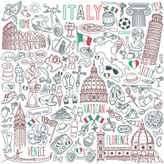 Italy doodle set. Famous landmarks and traditional Italian symbols - architecture, cuisine, Venice carnival. Objects isolated on white background