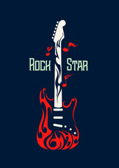 Vector image of an electric guitar in the form of flames. Rock and Roll Symbol