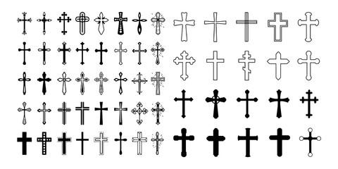 Set christian cross vector symbol flat and outline style