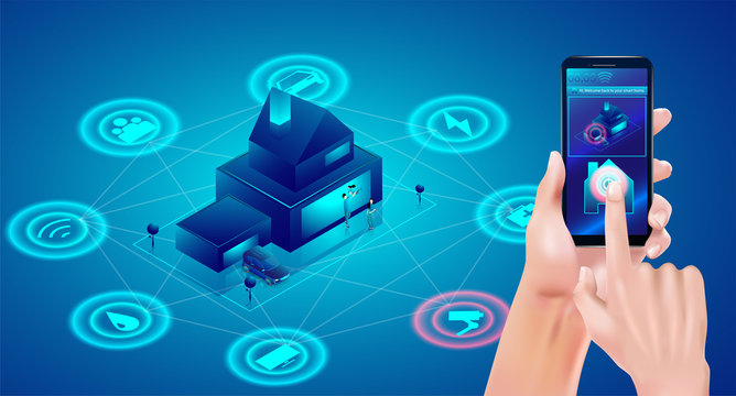 Smart home technology concept.  Hand holding smartphone and Isometric house. IOT Wireless connection controls system. Vector illustration in 3d style.