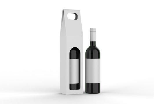 Corrugated Cardboard Wine Box Wine Bottle For Branding. 3d render illustration.