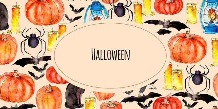 Bright watercolor halloween illustration with thematic elements.