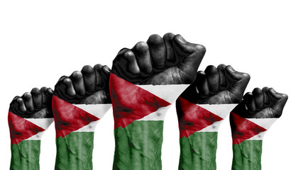 A raised fist of a protesters painted with the Jordan flag