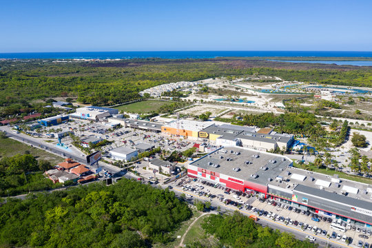 Sanjuan shopping center plaza. Aerial view from drone