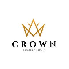 Crown logo king vector royal icon. Queen logotype symbol luxury design