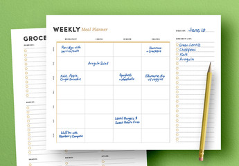 Meal Plan Weekly Agenda Layout