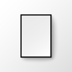 Picture frame wall image. Blank wood painting modern photo frame gallery design