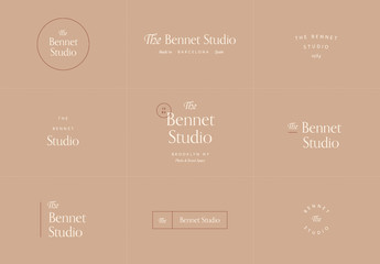 Serif Logo Set with Brown Elements