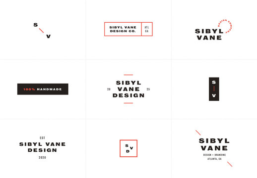 Simple Black and Red Logo Set