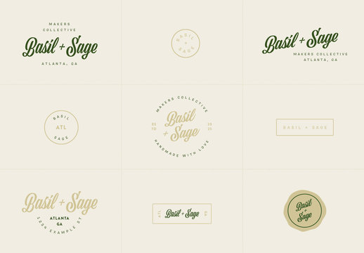 Script Logo Set with Green and Gold Elements