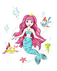 Foto op Aluminium Zeemeermin Cute mermaid and marine life, fish, jellyfish, starfish. PRINT for t-shirts and baby clothes, cards, posters and any design.
