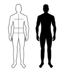 Man anatomy silhouette size. Human body full measure male figure waist, chest chart template