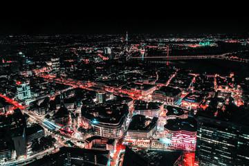 Nighttime Düsseldorf Drone Fotomurales