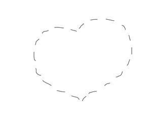 Icon black heart. Broken line. Illustration love and loyalty, vector