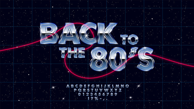 Retrowave synthwave vector font design in 1980s style. 3d and metallic gradient effect letters, numbers and symbols. Set of lens flares on dark background with laser grid in starry space. Eps 10